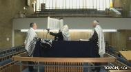 Blessing for when the Torah is raised:          V'zos ha'Toro asher som moshe lif'nay b'nay Yisro-ayl.   Aytz cha-yim hi la-machazikim boh, v'som'cheho m'ushor.   D'rocheho dar'chay no'am, v'chol n'sivo-seho sholom.   Orech yomim bi-minoh bis'moloh osher v'chovod