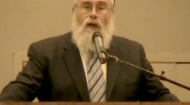 Rabbi Abba Perelmuter delivering the keynote address at the Yom HaShoah program at the Alpert Jewish Community Center in Long Beach, CA on 11 April 2010.